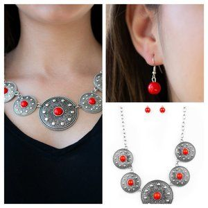 Hey, SOL SISTER RED NECKLACE & EARING SET.(004)